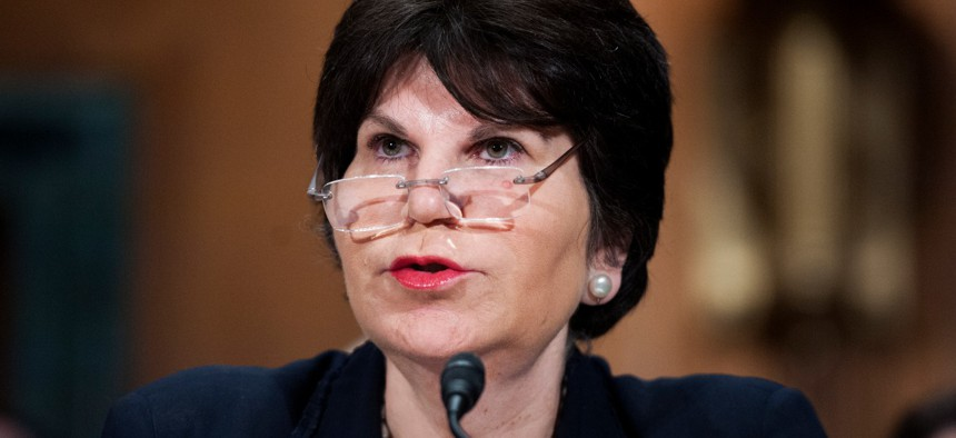 Laura Wertheimer, above at her 2014 confirmation hearing, is under fire for her conduct as inspector general at the Federal Housing Finance Administration.