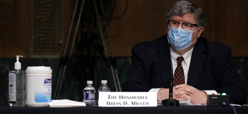 Brian Miller testifies before a hearing of Senate Banking, Housing, and Urban Affairs Committee in May 2020.