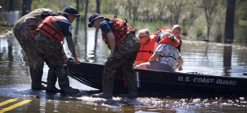 Coast Guard's Gulf Strike Team run rescue operations after Tropical Storm Florence in 2018.