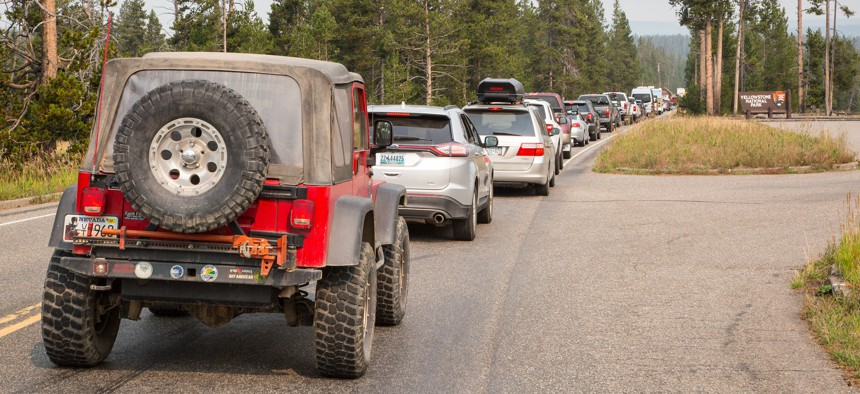 Traffic at the south entrance to Yellowstone National Park on Aug. 20, 2015.