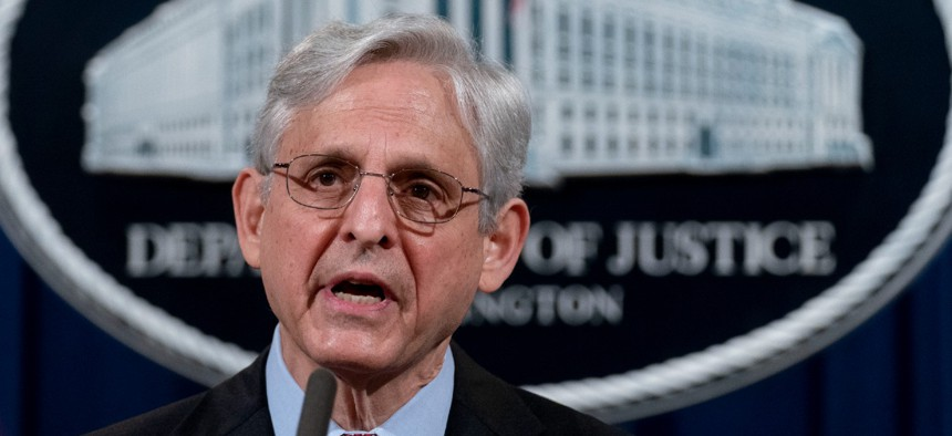 Attorney General Merrick Garland speaks at the Justice Department in April. Garland is under pressure to recognize a union of immigration judges.