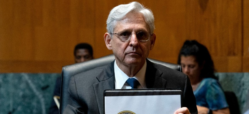 Attorney General Merrick Garland, prepares to depart following a Senate Appropriations Subcommittee on Commerce, Justice, Science, and Related Agencies hearing Wednesday.