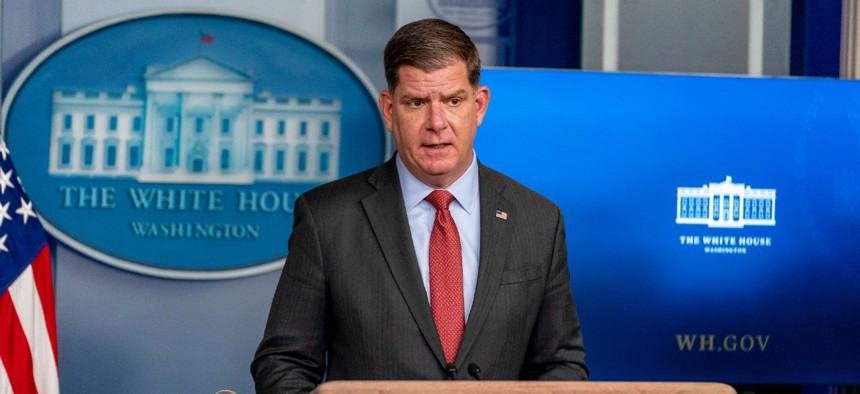 """""""This standard follows the science and will provide increased protections for those whose health is at heightened risk from coronavirus while they provide us with critical healthcare services,"""" said Labor Secretary Marty Walsh on Thursday."""