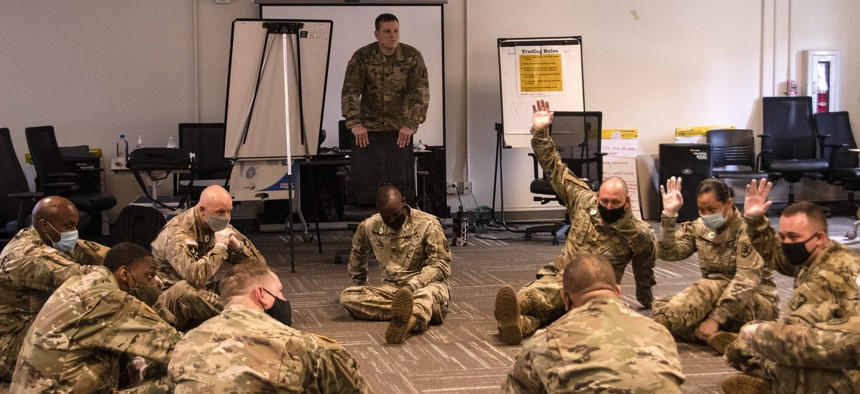 Soldiers participate in equal opportunity training at Fort Eustis, Virginia, June 23, 2020.