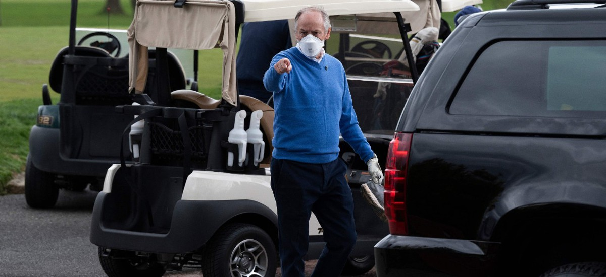 Counselor to the President Steve Ricchetti gestures after playing a round of golf with President Biden at Wilmington Country Club in Wilmington, Delaware, in April.