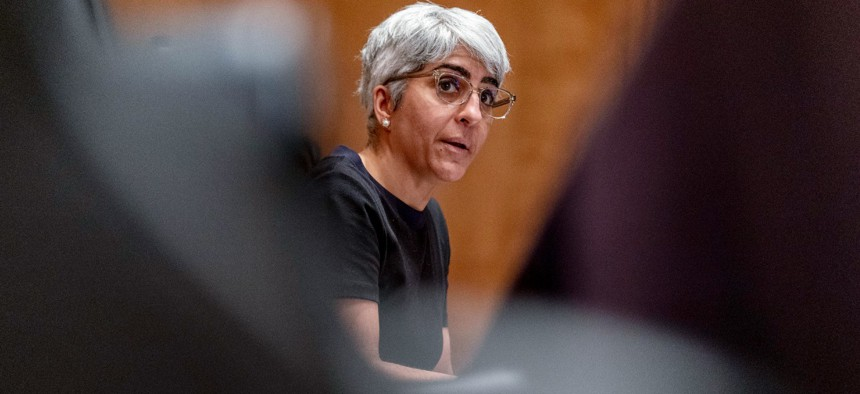 Kiran Ahuja, the nominee to be Office of Personnel Management director, speaks at a confirmation hearing in April.