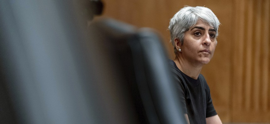 Kiran Ahuja, the nominee to be Office of Personnel Management Director, appears before a Senate Governmental Affairs Committee  hearing on Capitol Hill, Thursday, April 22, 2021