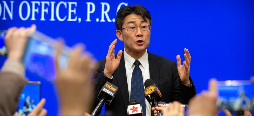 Gao Fu, the head of the Chinese Center for Disease Control and Prevention (CDC), speaks to journalists after a press conference about a virus outbreak at the State Council Information Office in Beijing, Sunday, Jan. 26, 2020.