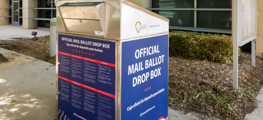 A drop box for San Bernardino County is placed at the Victorville City Hall building in Victorville, California in 2020.