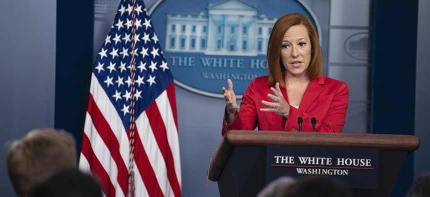 White House press secretary Jen Psaki speaks during a press briefing at the White House on June 28.