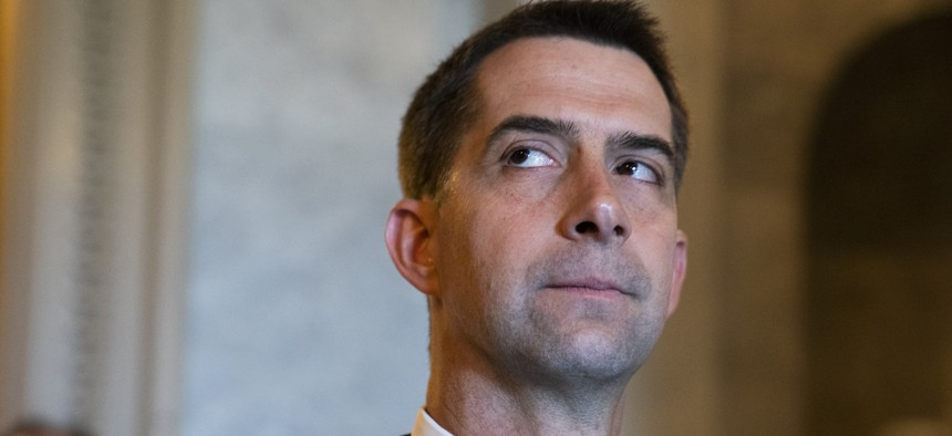 Sen. Tom Cotton, R-Ark., is seen in the Capitol during a vote on Wednesday, May 26, 2021.