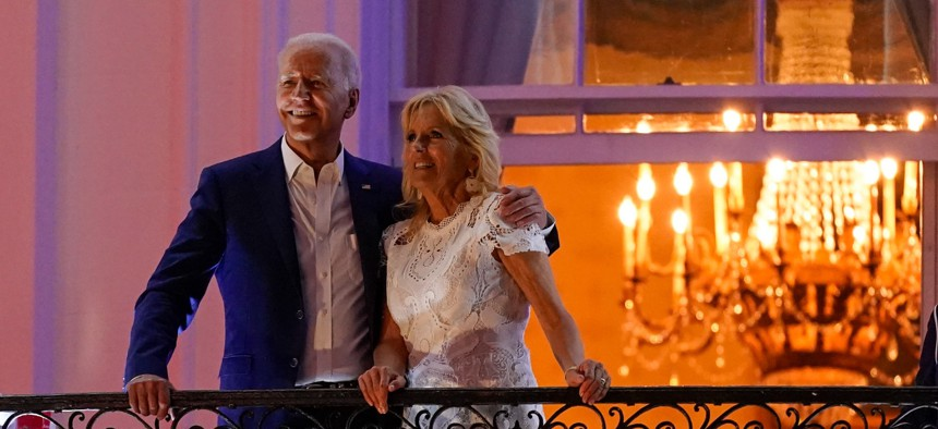 President Joe Biden and first lady Jill Biden view fireworks during an Independence Day celebration on Sunday
