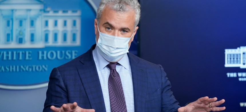 """""""This whole-of-federal-government, wartime-like approach—it continues,"""" said Jeff Zients, White House coronavirus response coordinator."""