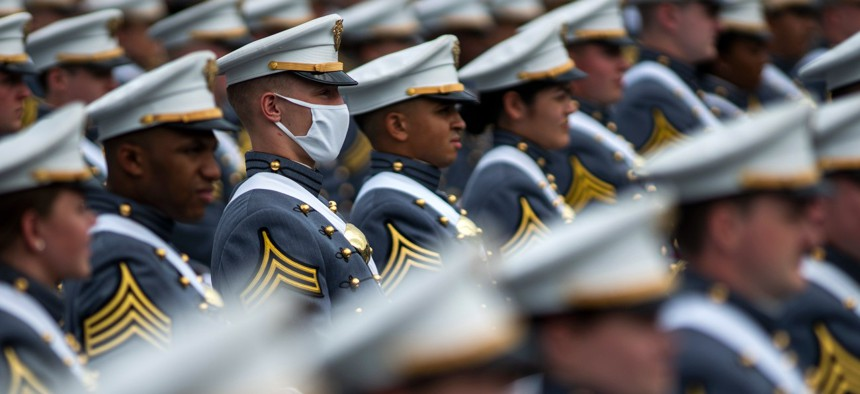 United States Military Academy graduating cadets stand during their graduation ceremony at Michie Stadium on Saturday, May 22, 2021, in West Point, N.Y.