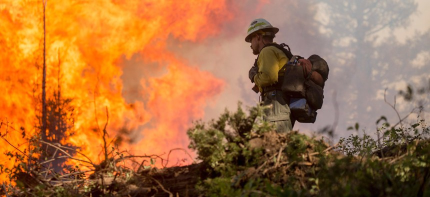 Firefighters work on the Pioneer Fire in the Boise National Forest in 2016.