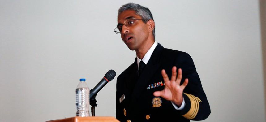 Surgeon General Vivek Murthy speaks at a ceremony honoring care workers on July 13 in Santa Fe, N.M.