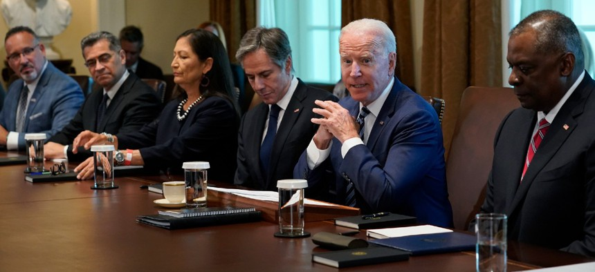 President Biden speaks during a meeting with his Cabinet on Tuesday.