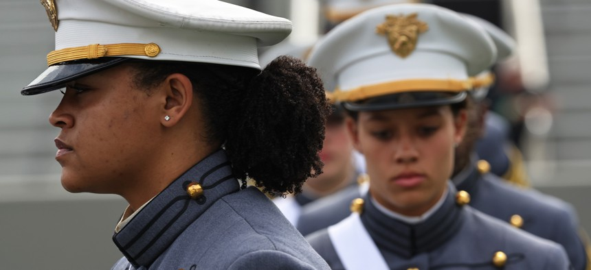 West Point graduates arrive for the 2021 West Point Commencement Ceremony in Michie Stadium on May 22, 2021 in West Point, New York.