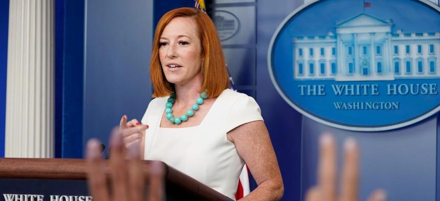 White House press secretary Jen Psaki speaks during the daily briefing Monday.