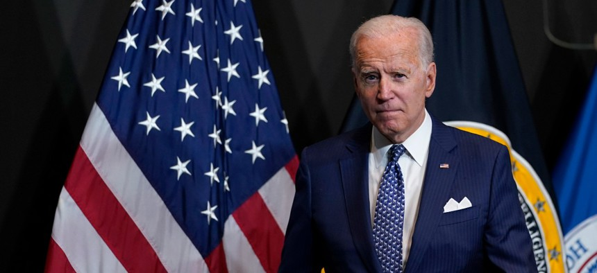 President Biden speaks during a visit to the Office of the Director of National Intelligence in McLean, Va., Tuesday, July 27, 2021.