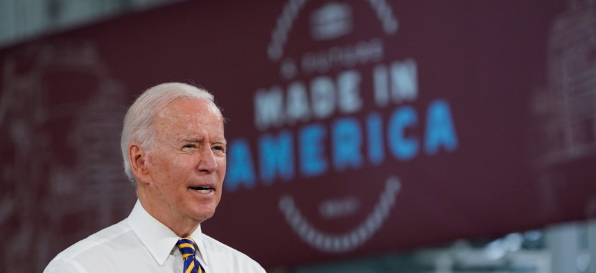 President Biden speaks during a visit to the Lehigh Valley operations facility for Mack Trucks in Macungie, Pa., Wednesday.