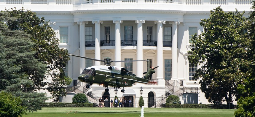 A U.S. Marine Corps VH-92 helicopter takes off from the South Lawn of the White House on June 14, 2019.