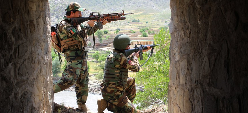 Afghan army soldiers take part in a military operation against militants in Kunar province, Afghanistan, April 28, 2021.