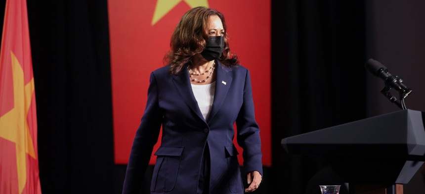 Vice President Kamala Harris attends the official launch of the Centers for Disease Control and Prevention Southeast Asia regional office in Hanoi, Vietnam, on Wednesday.