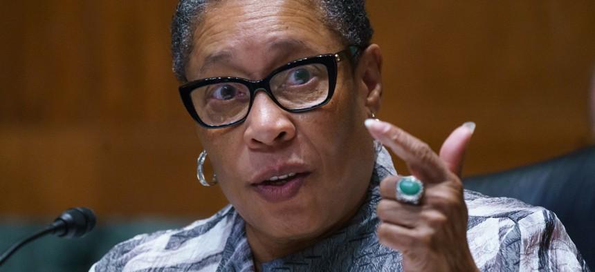 Housing and Urban Development Secretary Marcia Fudge testifies on Capitol Hill in June.