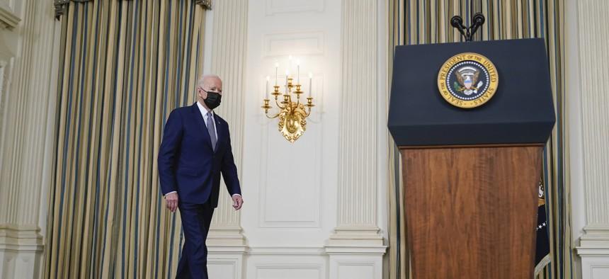 President Joe Biden arrives to speak from the State Dining Room of the White House in Washington