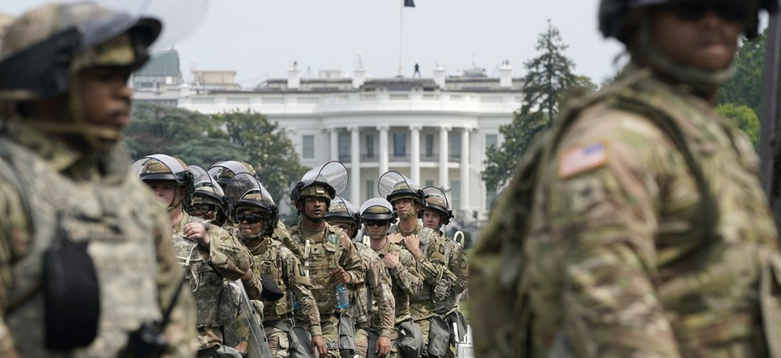National Guard members deploy near the White House as peaceful protests are scheduled against police brutality and the death of George Floyd, on June 6, 2020.