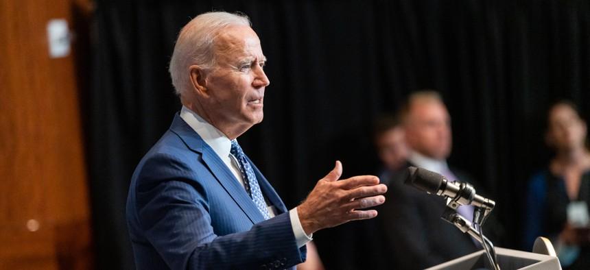 Biden speaks in Virginia in July.