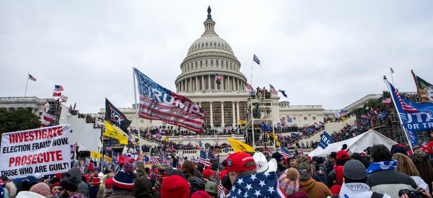 Protesters gather outside the U.S. Capitol building on Jan. 6.