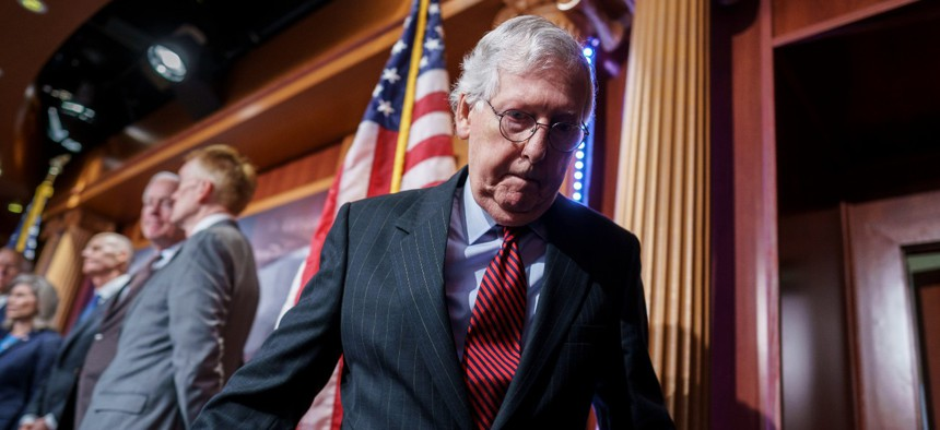 Senate Minority Leader Mitch McConnell, R-Ky., had warned Democrats that Republicans would block the House-passed measure to keep the government funded and suspend the federak debt limit.