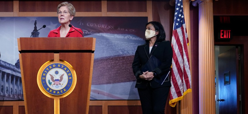 Sen. Elizabeth Warren, D-Mass., (left) and Rep. Pramila Jayapal, D-Wash., sent letters to the accounting firms.