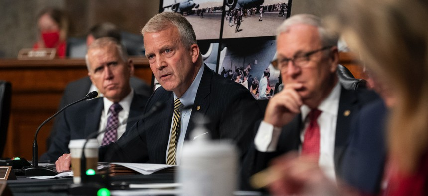 Sen. Dan Sullivan, R-Alaska, speaks during a Sept. 28 Senate Armed Services Committee hearing on Afghanistan. The committee has prioritized hearings about the recently concluded Afghanistan war over confirming top Pentagon officials.