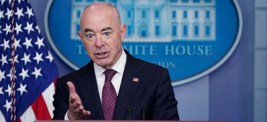 Homeland Security Secretary Alejandro Mayorkas speaks during a press briefing at the White House in late September. Mayorkas announced Tuesday that ICE will no longer conduct mass workplace raids.