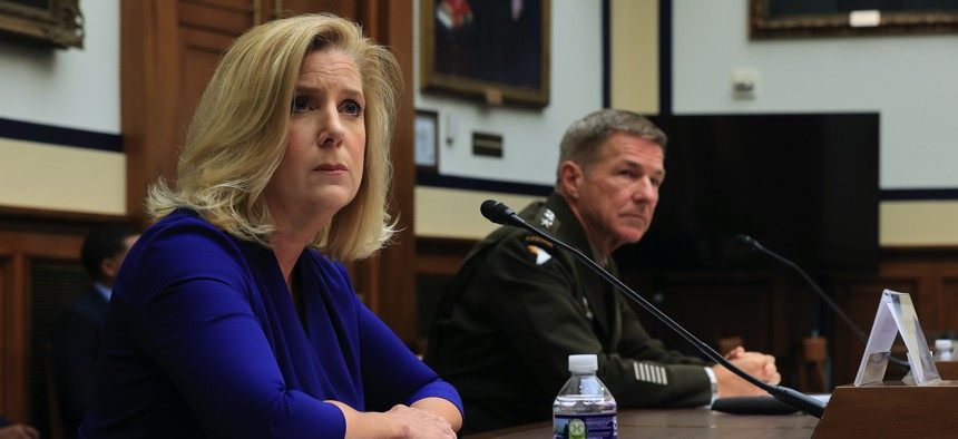 Secretary of the Army Christine Wormuth and U.S. Army Chief of Staff Gen. James McConville testify before the House Armed Services Committee about the FY2022 defense budget request in the Rayburn House Office Building on June 29, 2021.