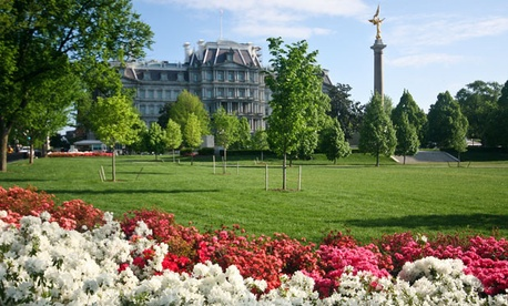 Maintenance costs for federal buildings, including the Eisenhower Executive Office Building, include landscaping.