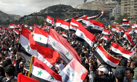 Protests continued in Damascus this week.