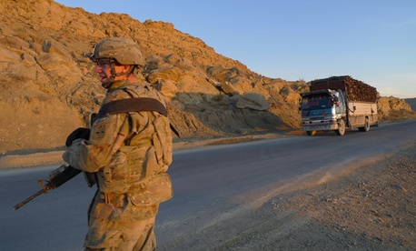 A U.S. soldier holds security duty in  Paktika province.