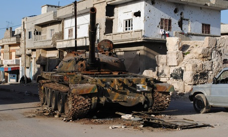 A tank was destroyed last week after clashes between authorities and rebeles in Rastan area in Syria's Homs province.