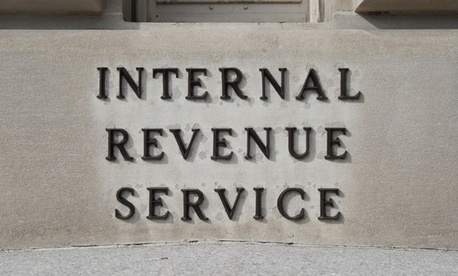 A sign outside the IRS offices in Washington, DC.