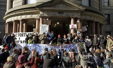 Occupy Portland protesters gather outside City Hall in November.