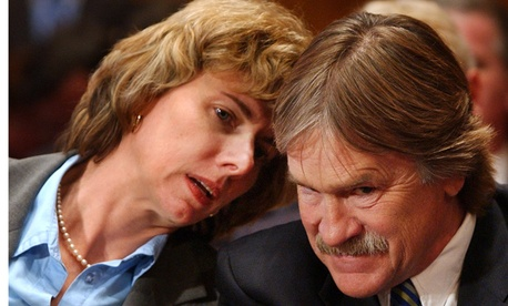 Robert Loux listens to NRC nominee Allison MacFarlane at a hearing in 2006.