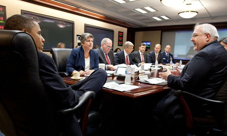 Representatives from FEMA, NOAA, the military, and the Energy and Homeland Security departments meet with President Obama.