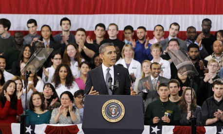 "Barack Obama speaks about the ""Community College to Career Fund"" in February at Northern Virginia Community College in Annandale, Va."