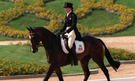 A dressage horse competes in the 1996 Olympics.