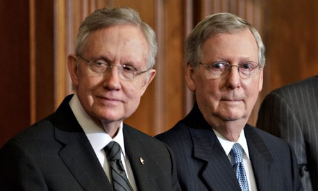Senate Majority Leader Harry Reid, D-Nev., left, and Senate Minority Leader Mitch McConnell, R-Ky.,