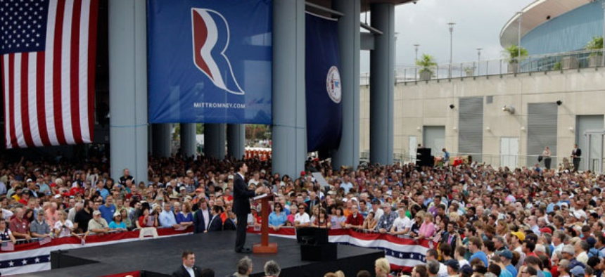 Rep. Paul Ryan addresses the crowd in Norfolk, Va. Saturday.